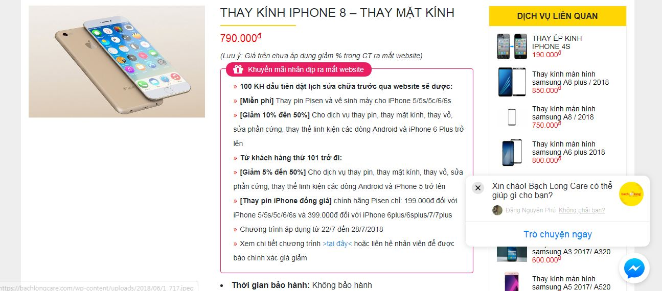 thay kinh iphone 8