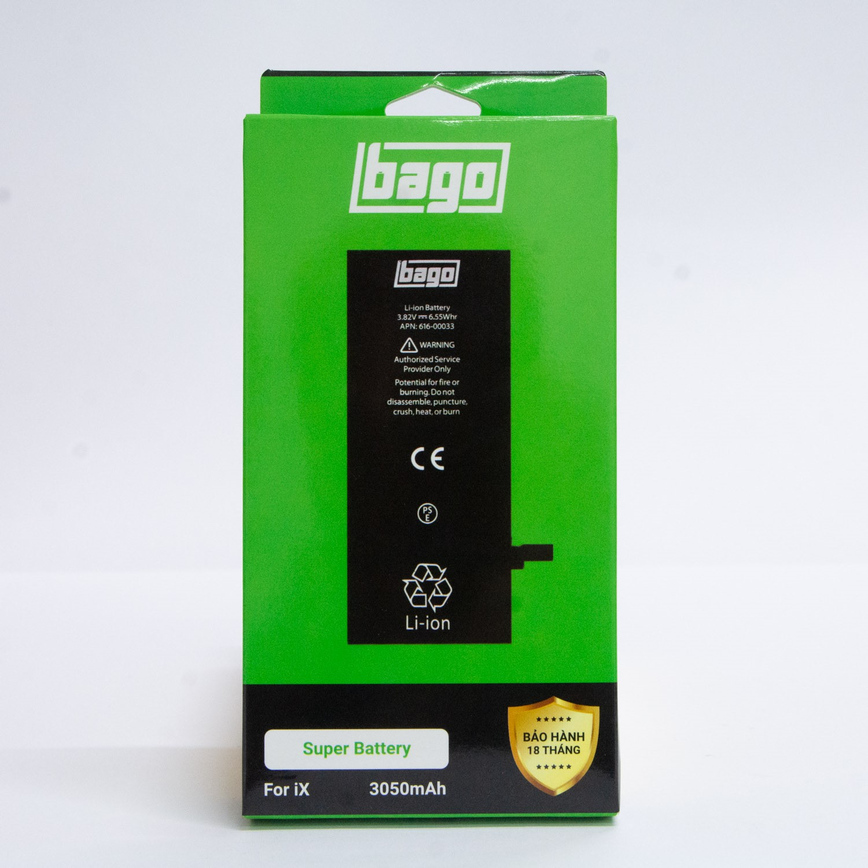 THAY PIN BAGO DUNG LƯỢNG CAO IPHONE X (3050 mAh)