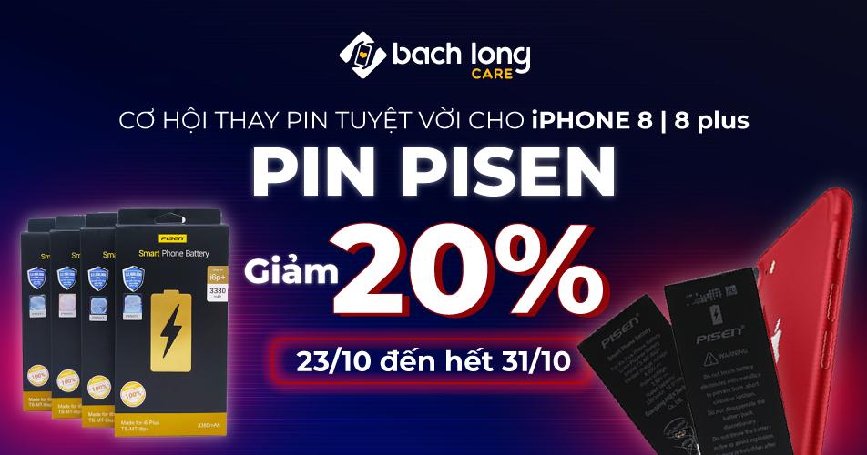Cơ hội thay pin tuyệt vời dành cho iPhone 8 | 8 Plus – Pin PISEN giảm 20%